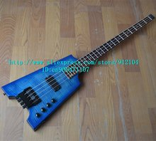 free shipping wholesale and retail new high-grade tiger stripes headless electric bass guitar  F-1537+softcase