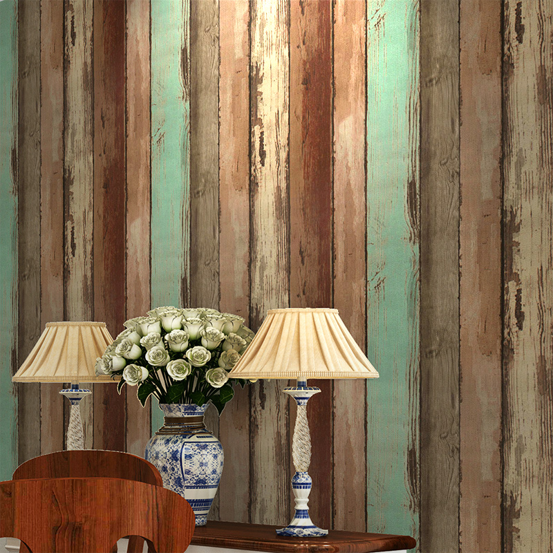 Retro Wood Wallpaper Modern Simple 3D Embossed Wood Board Texture Wall Paper Living Room Clothing Store Backdrop Wall Coverings<br>