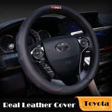 TRD for Toyota 38CM Genuine Leather Car Steering Wheel Cover Accessories Corolla 2014 Prius RAV4 Yaris Auris Hilux Avensis Camry