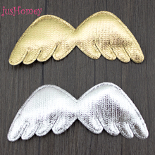 100pcs Metallic Fabric Angel Wing Appliques 75x30mm Shiny Golden Silver Angel Wing Applique Patches Cupid Wings Toy,Party Decor
