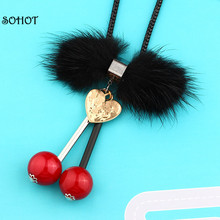 SOHOT Fashion Romantic Cherry Mink Sweater Long Snake Chain Pendants Fur Necklaces for Women Jewelry(China)