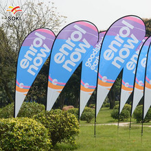2.8m Beach Flag Outdoor Advertising Trade Show Flag pole Teardrop Flag Banner With Iron Cross Base & Water Bag Single Printing