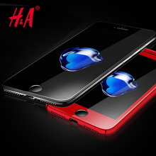 H&A Premium Screen Protector For iPhone 7 6 Tempered Glass red 3D Full Cover Film Screen Protector For iPhone 6 7 Plus red Glass