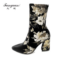 Fanyuan 2017 Floral Print Spandex Mid Calf Boots Thin High Heels Women Pumps Sexy Ladies Shoes Pointed Toe Fashion Brand  Boots