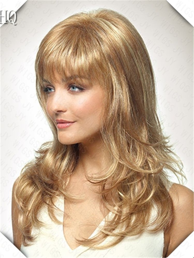 Heat Resistant Synthetic Sexy Lady Wig Blonde Medium Long  Curly Hair Womens Wigs<br><br>Aliexpress