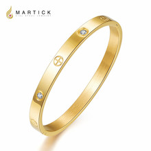 Martick Top Quality Fashion Lady Gold/Rose Gold/Silver/Black Color Love Bracelet With AAA CZ Stainless Steel Bangles For Lover