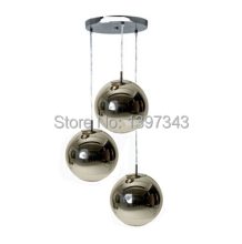 Wonderland 3 Heads Fashion Modern Art Italian Copper/Silver Glass Mirror Shade Ball Lamp Pendant Light Design Bedroom Bar Home