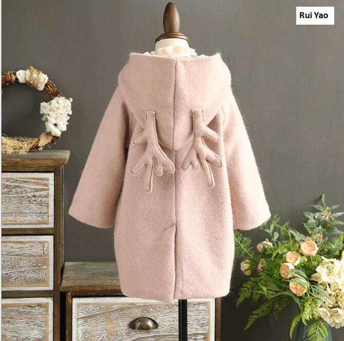 size  EHHE70 2017 Winter Baby Girl Coat Fashion Solid Hooded Lolita Girl Outerwear Deer Lolita Girls Clothes <br>