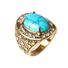 Vintage Big Bohemian Blue Green Stone Rings For Women And Men Antique Silver Luxury CZ Stone Male Jewelry 2017 New(China)