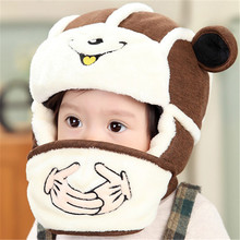 Baby Caps Kids cute bear style pattern Lovely ears Hat Winter Cap Masks hats baby Warm infant bonnet 5 colors For Photography(China)