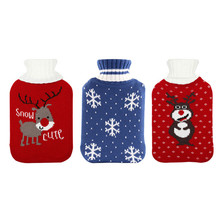 Rubber High Quality Christmas Elk Velvet Thickened Safe Hot Water Bottle Pocket Gloves Plush Hot Water Filling Bag Drop Shipping(China)
