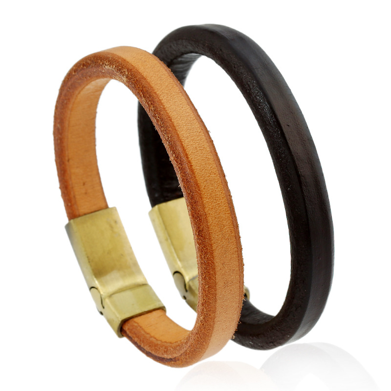 Fashion Genuine Leather Men's Bracelet Wristband Brown Color Cuff Bracelet Charm Man Jewelry Accessories Male Bangles