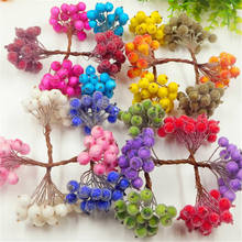 20pcs / 40 artificial pomegranate red cherry bouquet mini fake fruit glass berry stamens DIY gift box collage decorated stamens