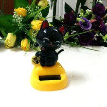 Retail Package New Style Swing Under Full Light Novelty Gift And Toy Rocking Solar Energy Lucky Cat Style Doll(China)