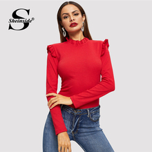 Sheinside Red Rüschen Trim Slim Fit Elegante T Shirts Frauen 2018 Herbst Stehkragen Solide Damen T Shirt Der Frauen Lange hülse Tops(China)