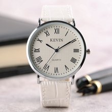 Modern Men Fashion Women Quartz Wrist Watch Simple Style White Big Dial Analog Roman Numerals Leather Band Strap Hours Clock