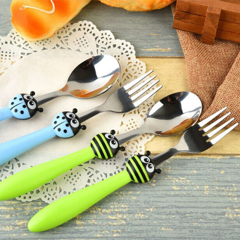 Keythemelife-2pcs-set-Cartoon-Ladybugs-Kids-Dinnerware-Sets-Children-Tableware-Suit-Stainless-Steel-Fork-Set-2D (2)