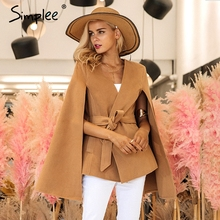 Simplee Elegant v neck winter cape coat Women long sleeve belt outerwear coat 2017 Autumn casual split streetwear cloak overcoat(China)