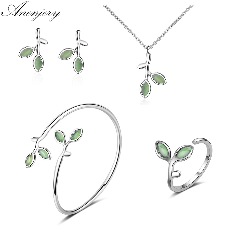 Anenjery Jewelry-Sets Necklace Bud-Earrings Opal-Leaf 925-Sterling-Silver Summer Bangle title=