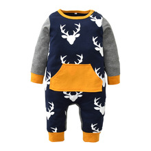 Autumn Baby Rompers Christmas Baby Boy Clothes Children Clothing Long-sleeve Deer Printed Patchwork Newborn Infant Jumpsuit(China)