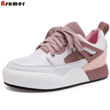 Asumer pink gray fashion new women shoes round toe ladies synthetic+genuine leather flats shoes casual sneakers single shoes(China)