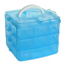 New 18 Grids adjustable Storage Case Box Holder Container 3 layer jewelry beads bill organizer holder candy colors on sale(China)
