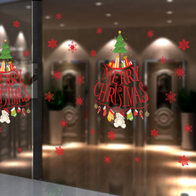 Merry Christmas Snowflakes Sticker Windows Glass cabinet Wall stickers New Year home decoration Wall Stickers Wallpaper