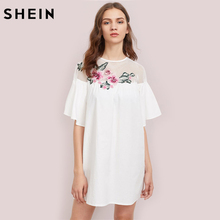 SHEIN Embroidered Flower Patch Fishnet Yoke Smock Dress Sexy Womens Dresses White Half Sleeve Cut Out Back Dress