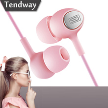 Girl's Pink Earphone With Microphone MIC Student Headset Noise Canceling for Xiaomi Iphone 7 Huawei fone de ouvido