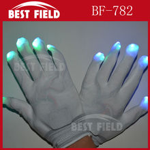 Free Shipping 10pcs(5pairs)/lot 22*11CM 7mode Nylon LED Rave Light Finger Glow Mitt Night Club Lighting Flashing Gloves White(China)