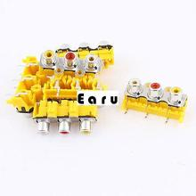 6pcs Audio Video 3 Female Jack Coupler Adapter RCA Socket Connector