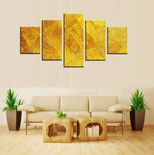 Top Sale Golden Artistic Abstract Oil Painting on Canvas for Home Decoration Art Wall Sticker Wholesale Custom Is Welcomed 5pcs(China)