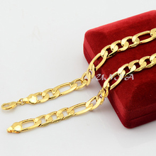 Fashion Wholesale Jewelry 4mm 5mm 6mm 7mm 9mm Man Womens  Yellow Gold Filled Figro Chain Link Necklace (NO RED BOX)