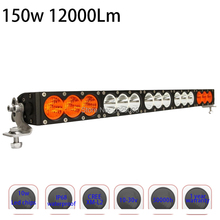150w 27inch Dual Row White Amber Single Staright Row Led Driving Led Bar with Cree 10W High Light Output for Offroad Truck Auto