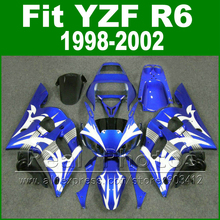 Free Custom Plastic parts for YAMAHA R6 fairing kits 1998 1999 2000 2001 2002 blue with white  YZF R6 fairings98 -02 bodywork