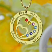 Gold Color Birthstone Family Name Necklace Heart in Heart Name Necklace Personalized Mom Necklace Family Love Memorial Jewelry