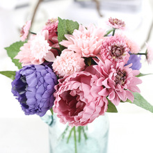 Silk Dahlias Flowers With Artificial Flowers Peony Bouquet For Decoration Silk Real Touch Decorative Flowers Artificial Peony