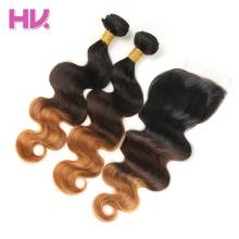 Hair Villa Pre-Colored Ombre Indian Body Wave Hair Lace Closure2/3 Bundles #1b/4/30 Non-Remy Human Hair With 4*4 Lace Closure(China)