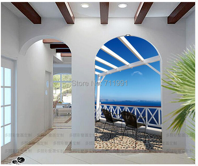 Free shipping custom entrance large murals aisle Mediterranean style living room corridor wall background wall paper Aegean Sea<br><br>Aliexpress