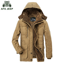 2017 Winter Down Jackets AFS JEEP Brand Jacket Cotton Padded Wool Male Thickening Long Coat Jacket Wholesale D206