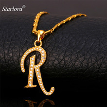 Initial R Letter Pendants Necklaces Women/Men Gift Cubic Zirconia Alphabet Jewelry Gold/Silver Color Necklace P1688(China)