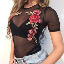 2017 Summer Mesh Fabric Appliques Red Flower T Shirt Women Sexy Club punk rock party fashion perspective black Top T1764