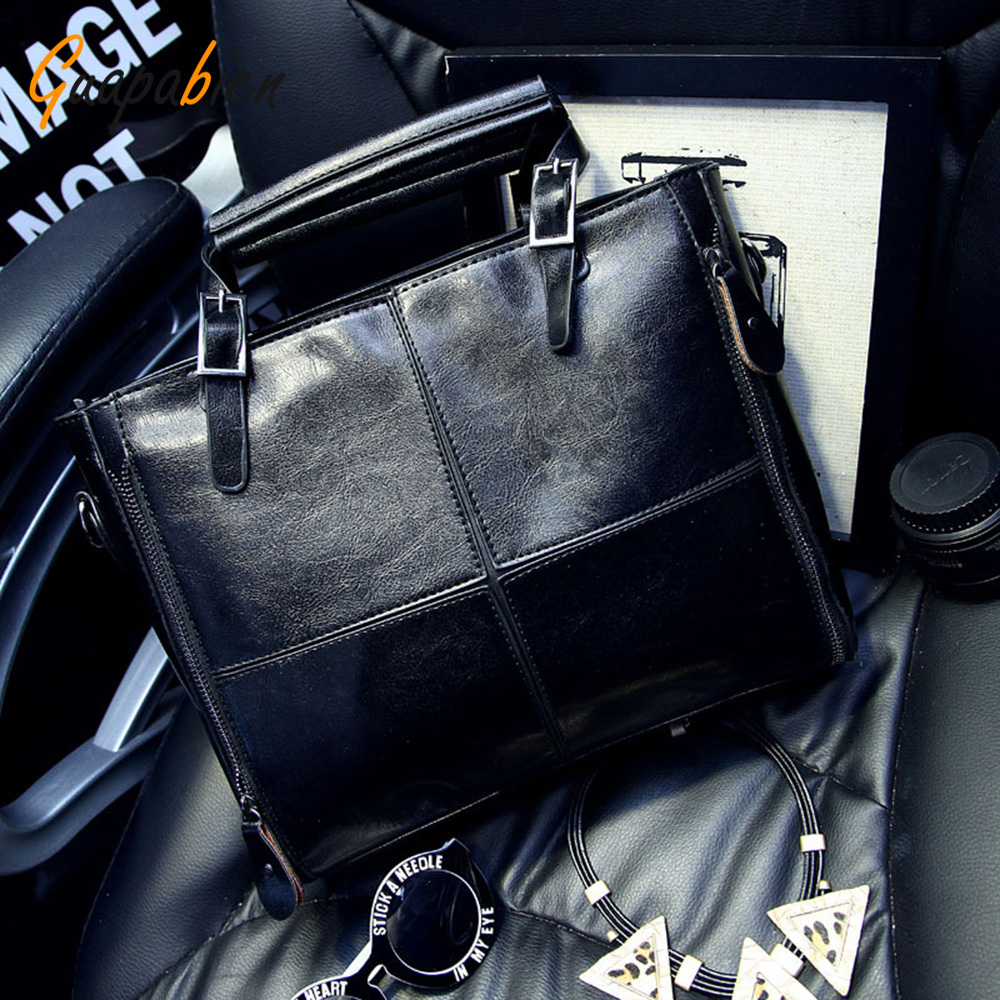 Guapabien Black Brown Women Handbags Long Strap PU Leather Patchwork Shoulder Cross Body Bags Ladies OL Party Wedding Tote Bag<br><br>Aliexpress