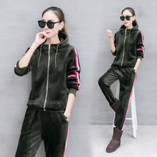 Tracksuit 2018 Autumn Winter new velvet sports suit women's long sleeve hooded casual sweater thickening 2 piece set(China)