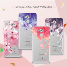 3D Relief Phone Case For Huawei Honor 6C 5.0 inch Floral Cartoon Peach Lace Soft Silicone Back Cover For Huawei Honor 6C Coque