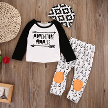 2016 Autumn New baby boy clothing set fashion cotton long-sleeved letter T-shirt+ Pants+hat 3pcs newborn baby boy clothes set