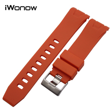 Silicone Rubber Watchband 20mm 22mm for Omega Seamaster Planet Ocean Curved End Watch Band Steel Buckle Wrist Strap Black Orange