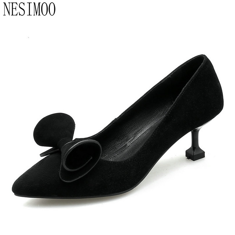 NESIMOO 2018 Women Pumps Cow Suede Women Shoes ButterflyStrange Style Spring/ Autumn Fashion All Match Ladies Pumps Size 34-43<br>