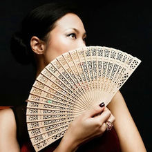 Hot Selling Bamboo Wooden Fan Fragrant 20cm Home Decoration Crafts Summer Art Folding Carved Hand Fans Women(China)