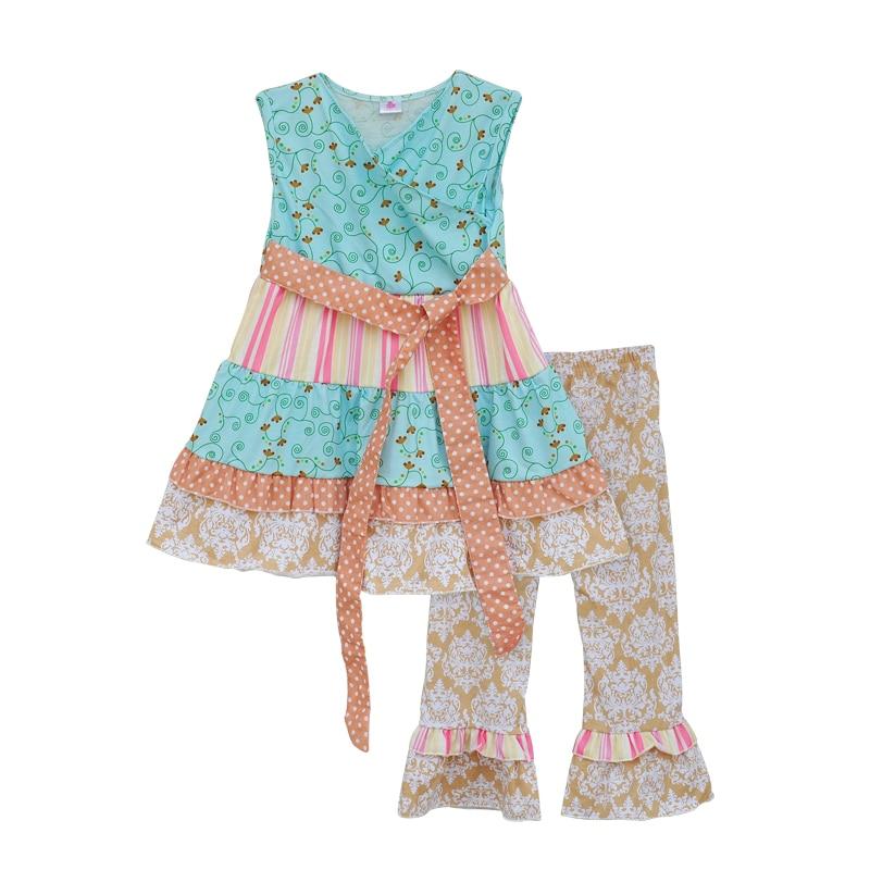 2016 Vintage Princess Design Baby Clothing Girl Summer Style Floral Blue Top Big Hem Waist Stripe Decor Ruffle Pants S070<br><br>Aliexpress